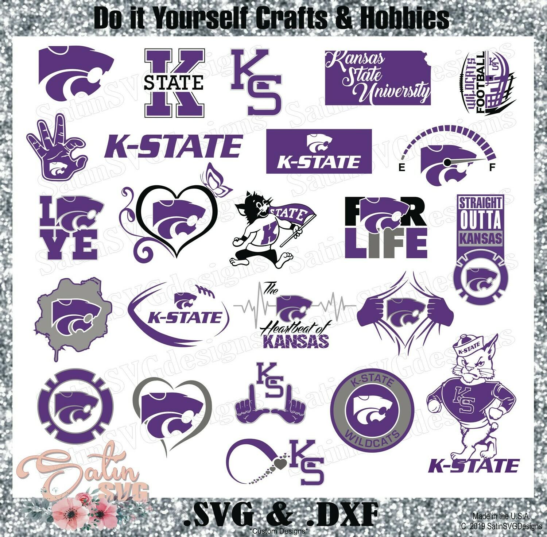 K-State Wildcats NEW Custom University Designs. SVG Files, Cricut, Silhouette Studio, Digital Cut Files, Infusible Ink