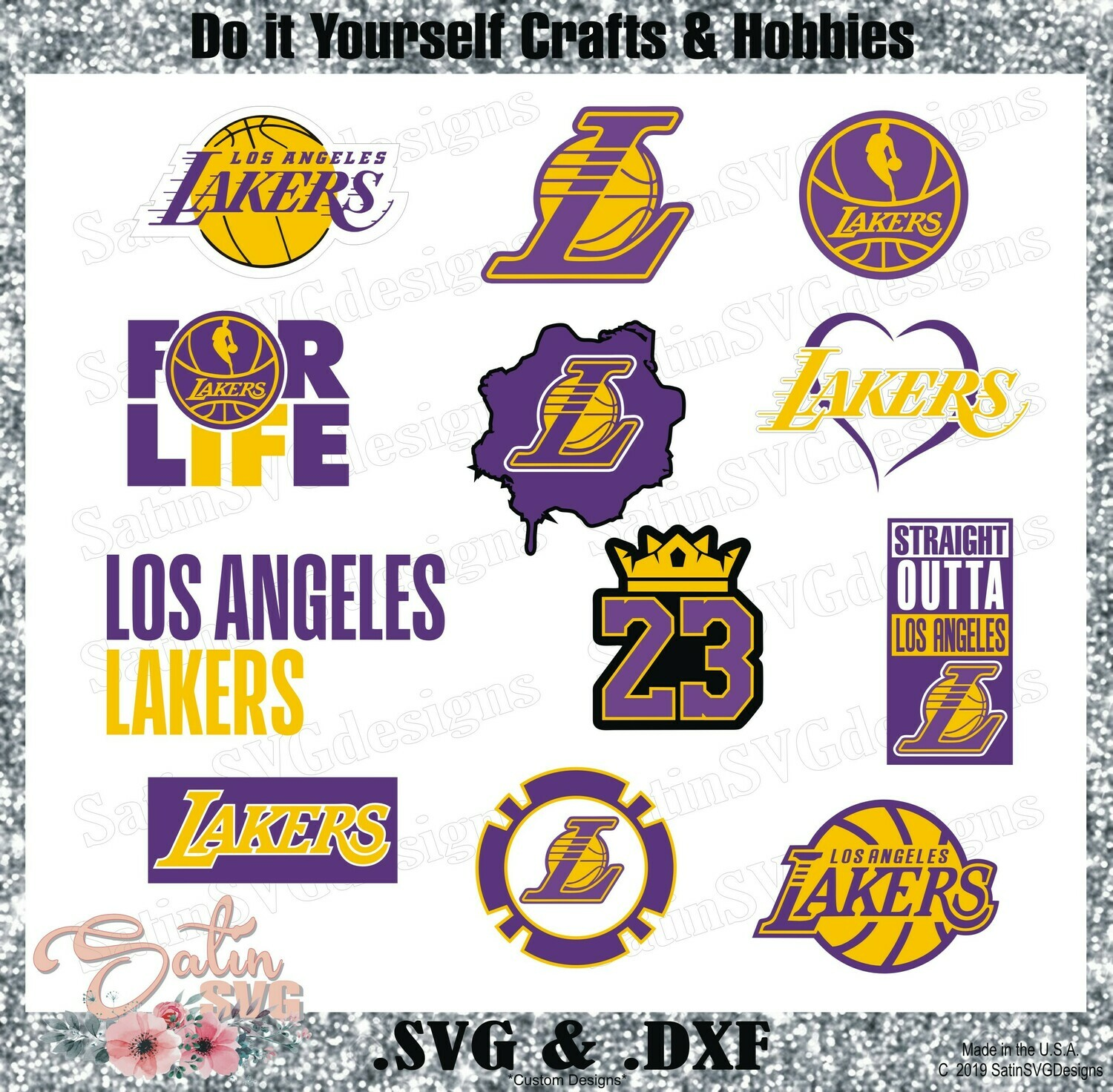 Los Angeles Lakers NEW Custom NBA Designs. SVG Files, Cricut, Silhouette Studio, Digital Cut Files, Infusible Ink