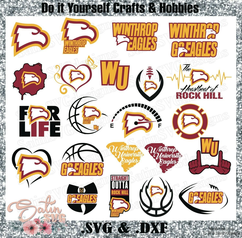 Winthrop University Eagles NEW Custom Designs. SVG Files, Cricut, Silhouette Studio, Digital Cut Files, Infusible Ink