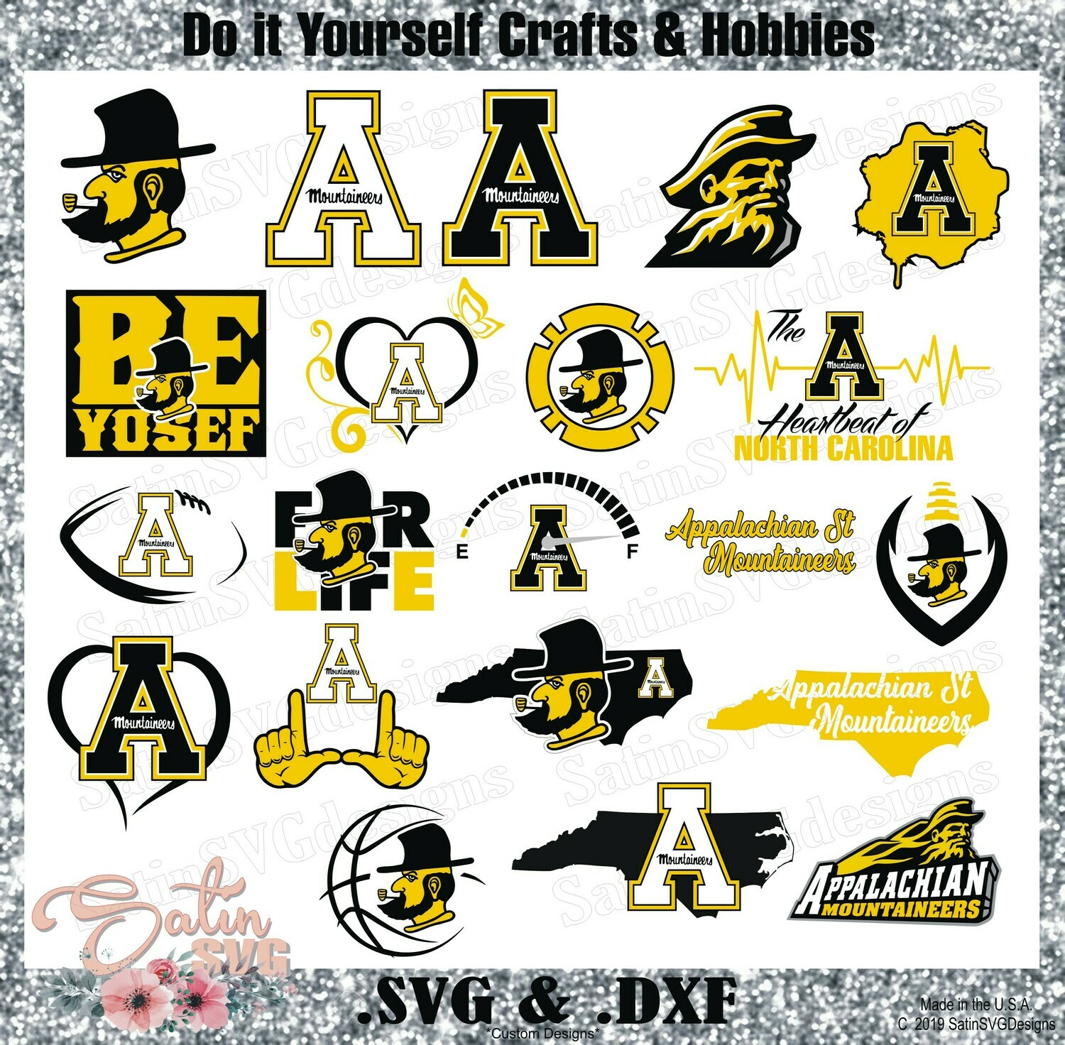 Appalachian State University Mountaineers NEW Custom Designs. SVG Files, Cricut, Silhouette Studio, Digital Cut Files, Infusible Ink