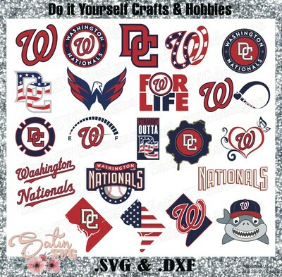 Washington Nationals NEW Custom MLB Designs. SVG Files, Cricut, Silhouette Studio, Digital Cut Files, Infusible Ink