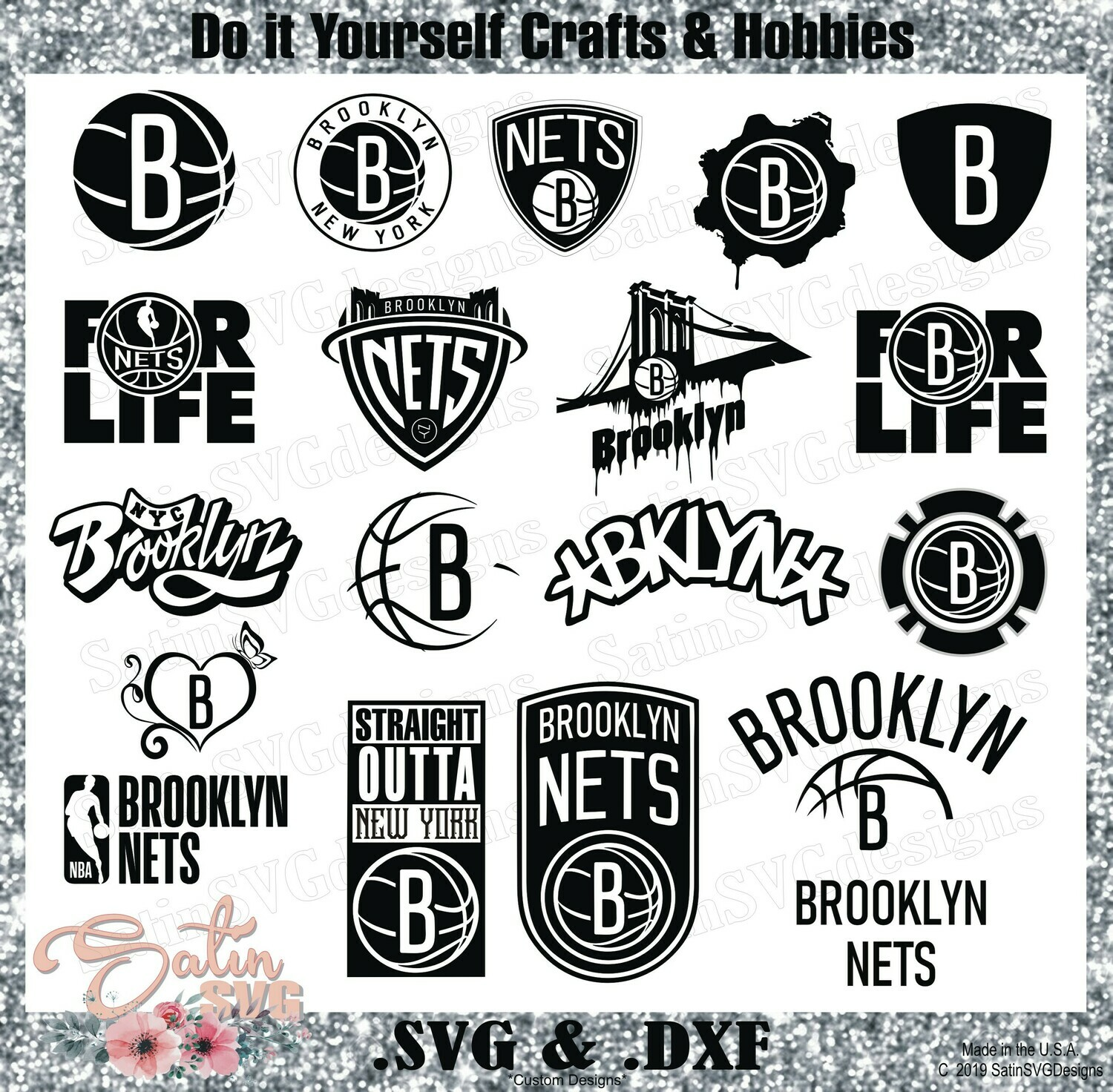 Brooklyn Nets NEW Custom NBA Basketball Designs. SVG Files, Cricut, Silhouette Studio, Digital Cut Files, Infusible Ink