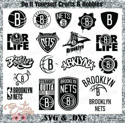 Brooklyn Nets NEW Custom NBA Basketball Designs. SVG Files, Cricut, Silhouette Studio, Digital Cut Files, Infusible Ink
