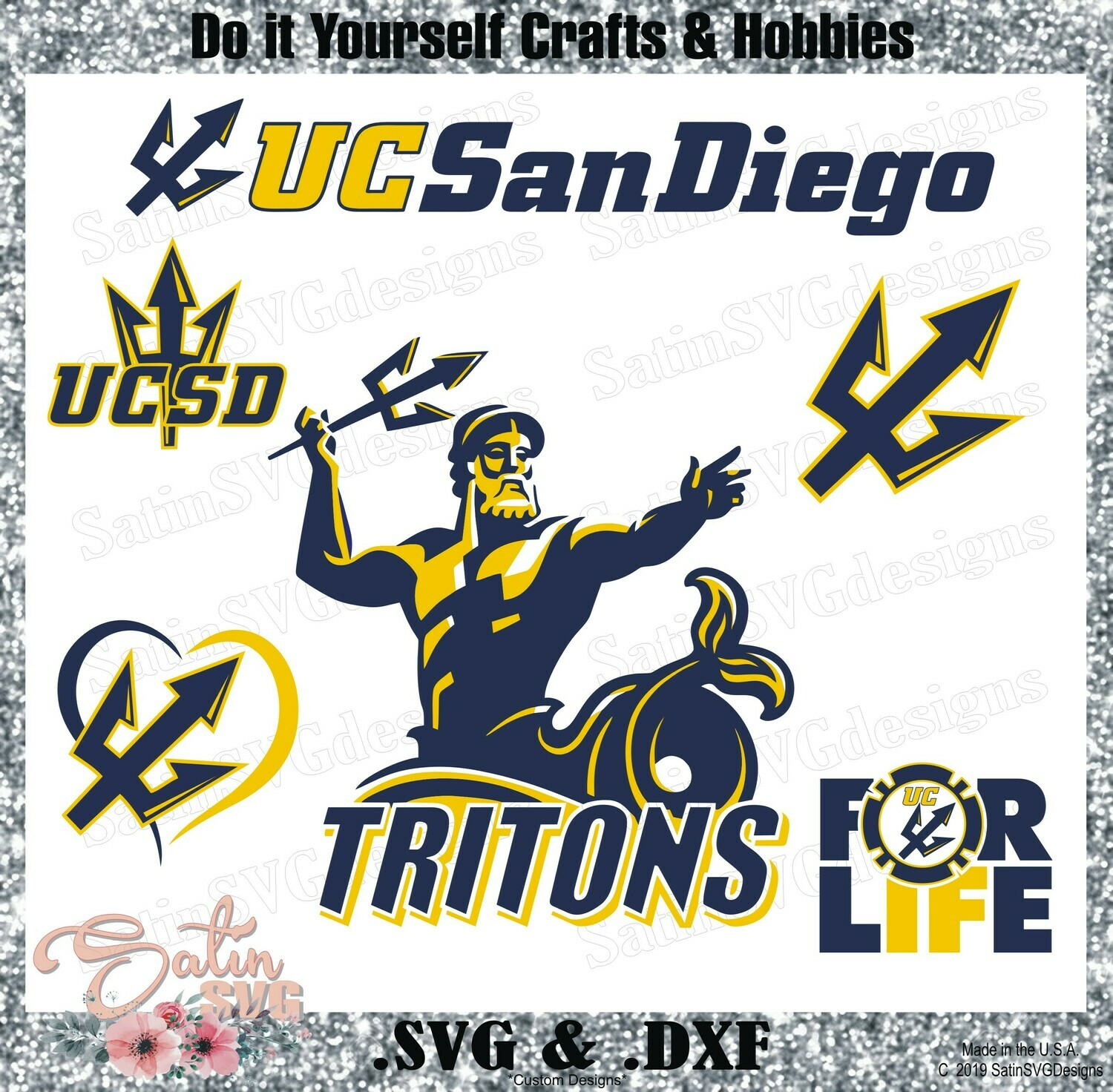 UC San Diego Tritons University NEW Custom Designs. SVG Files, Cricut, Silhouette Studio, Digital Cut Files, Infusible Ink