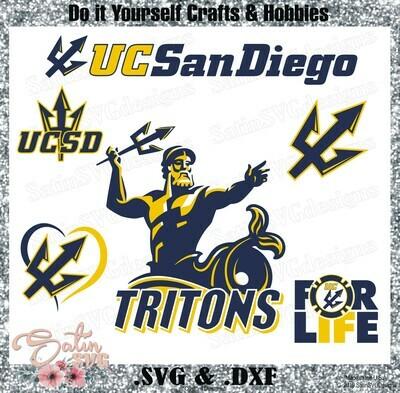 UC San Diego Tritons University NEW Custom Designs. SVG Files, Cricut, Silhouette Studio, Digital Cut Files, Infusible Ink