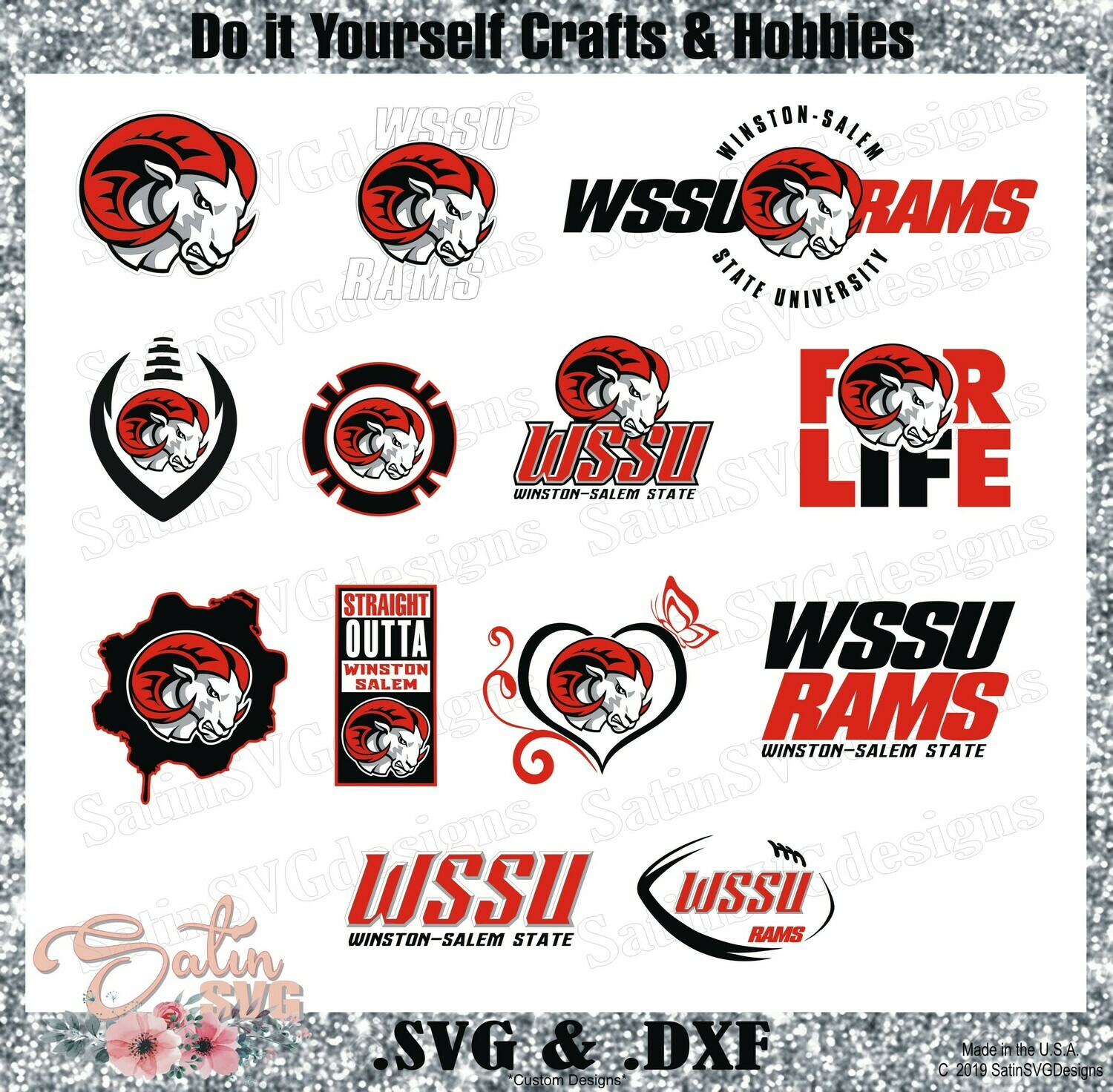 Winston Salem State University WSSU Rams NEW Custom Designs. SVG Files, Cricut, Silhouette Studio, Digital Cut Files, Infusible Ink