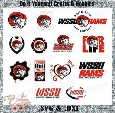 Winston Salem State University WSSU Rams NEW Custom Designs. SVG Files, Cricut, Silhouette Studio, Digital Cut Files, Infusible Ink
