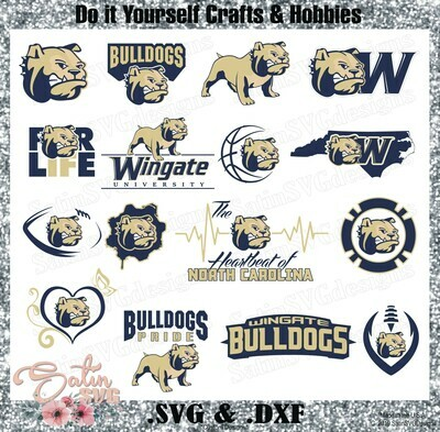 Wingate Bulldogs, Wingate University NEW Custom Designs. SVG Files, Cricut, Silhouette Studio, Digital Cut Files, Infusible Ink