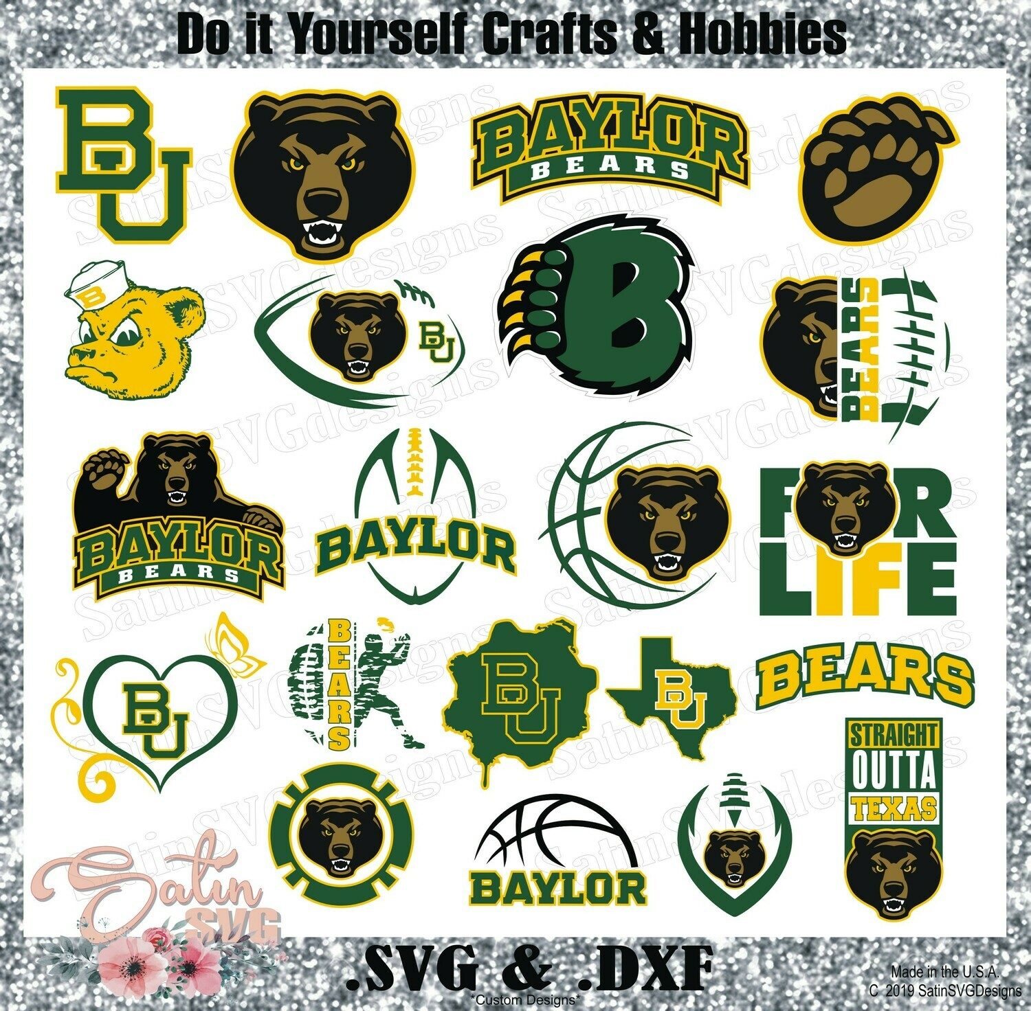 Baylor Bears, Baylor University NEW Custom Designs. SVG Files, Cricut, Silhouette Studio, Digital Cut Files, Infusible Ink