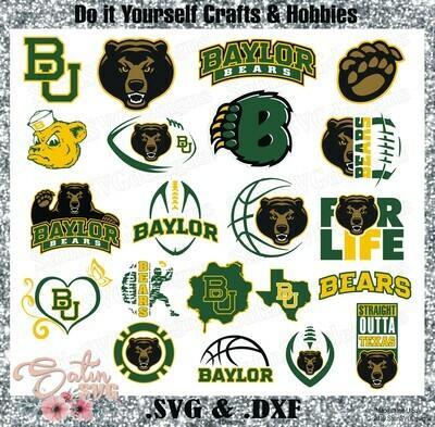 Baylor Bears, Baylor University NEW Custom Designs. SVG Files, Cricut, Silhouette Studio, Digital Cut Files, Infusible Ink