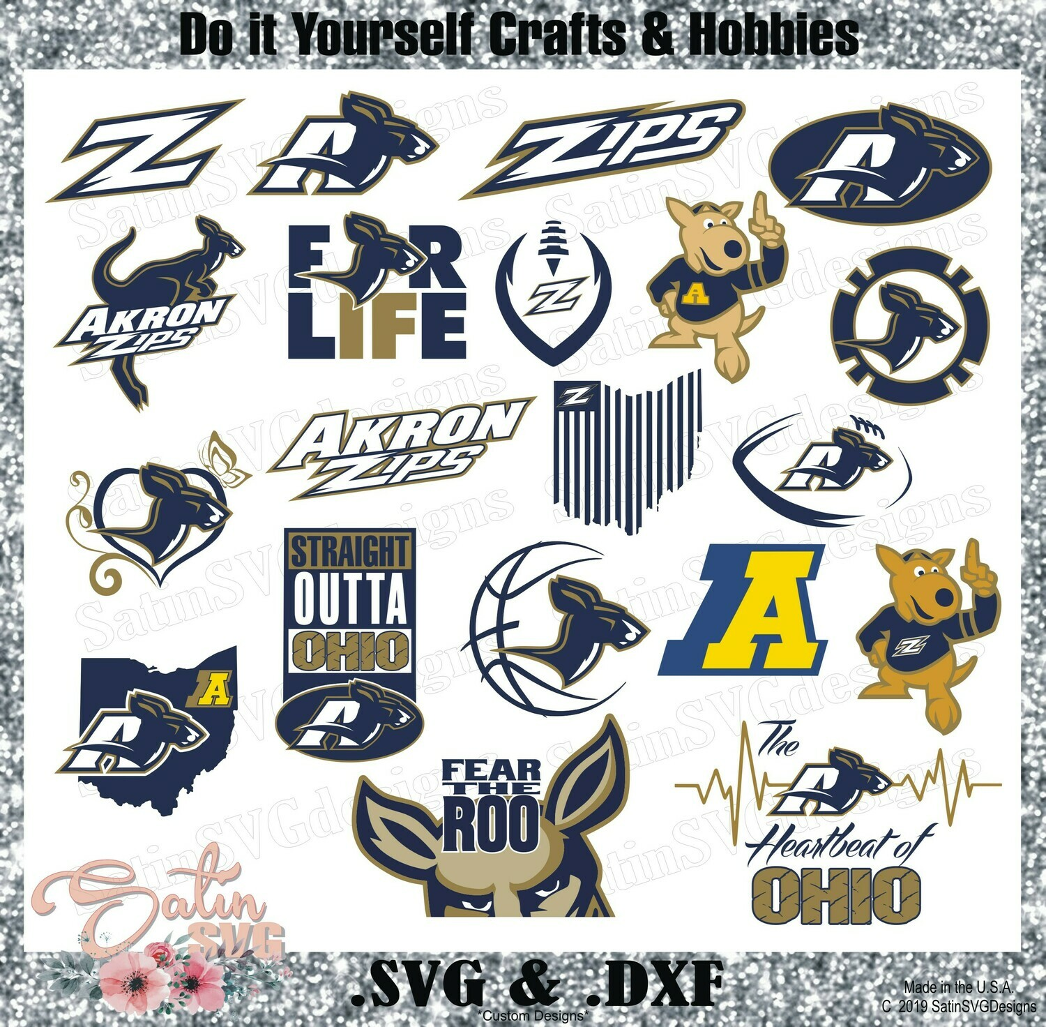 Akron Zips, Akron University NEW Custom Designs. SVG Files, Cricut, Silhouette Studio, Digital Cut Files, Infusible Ink