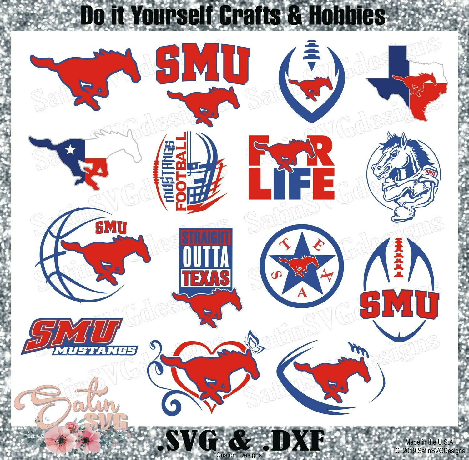 SMU Mustangs, Southern Methodist University NEW Custom Designs. SVG Files, Cricut, Silhouette Studio, Digital Cut Files, Infusible Ink
