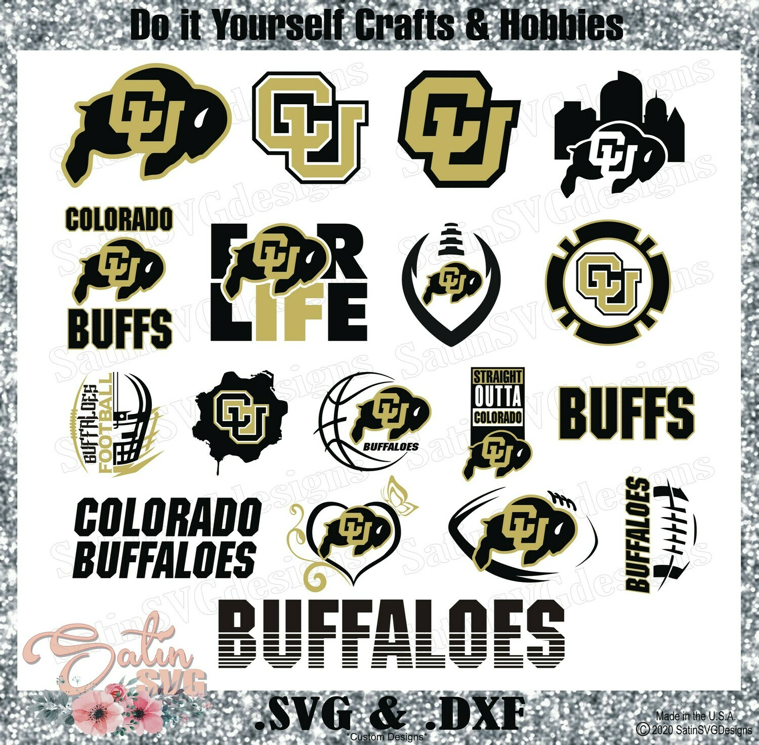 Colorado Buffaloes, Colorado University NEW Custom Designs. SVG Files, Cricut, Silhouette Studio, Digital Cut Files, Infusible Ink