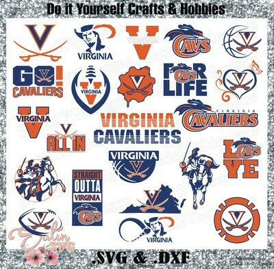 Virginia Cavaliers, Virginia University NEW Custom Designs. SVG Files, Cricut, Silhouette Studio, Digital Cut Files, Infusible Ink