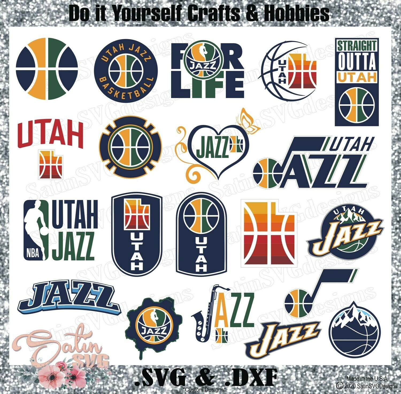 Utah Jazz NEW Custom NBA Basketball Designs. SVG Files, Cricut, Silhouette Studio, Digital Cut Files, Infusible Ink