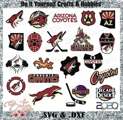 Arizona Coyotes NEW Custom NHL Hockey Designs. SVG Files, Cricut, Silhouette Studio, Digital Cut Files, Infusible Ink