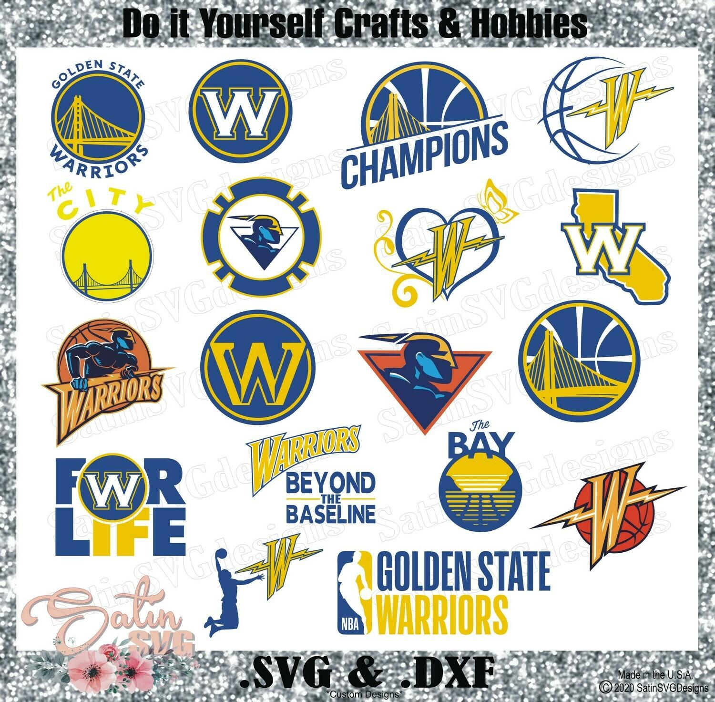 Golden State Warriors Update Custom NBA Basketball Designs. SVG Files, Cricut, Silhouette Studio, Digital Cut Files, Infusible Ink