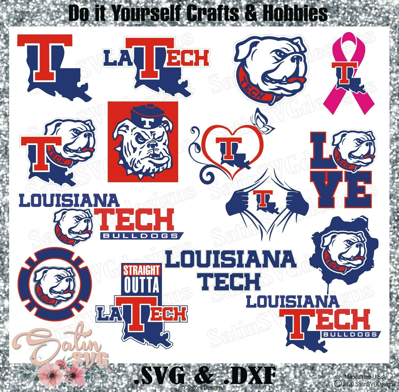 LA Tech Bulldogs, Louisiana Tech University NEW Custom Designs. SVG Files, Cricut, Silhouette Studio, Digital Cut Files, Infusible Ink