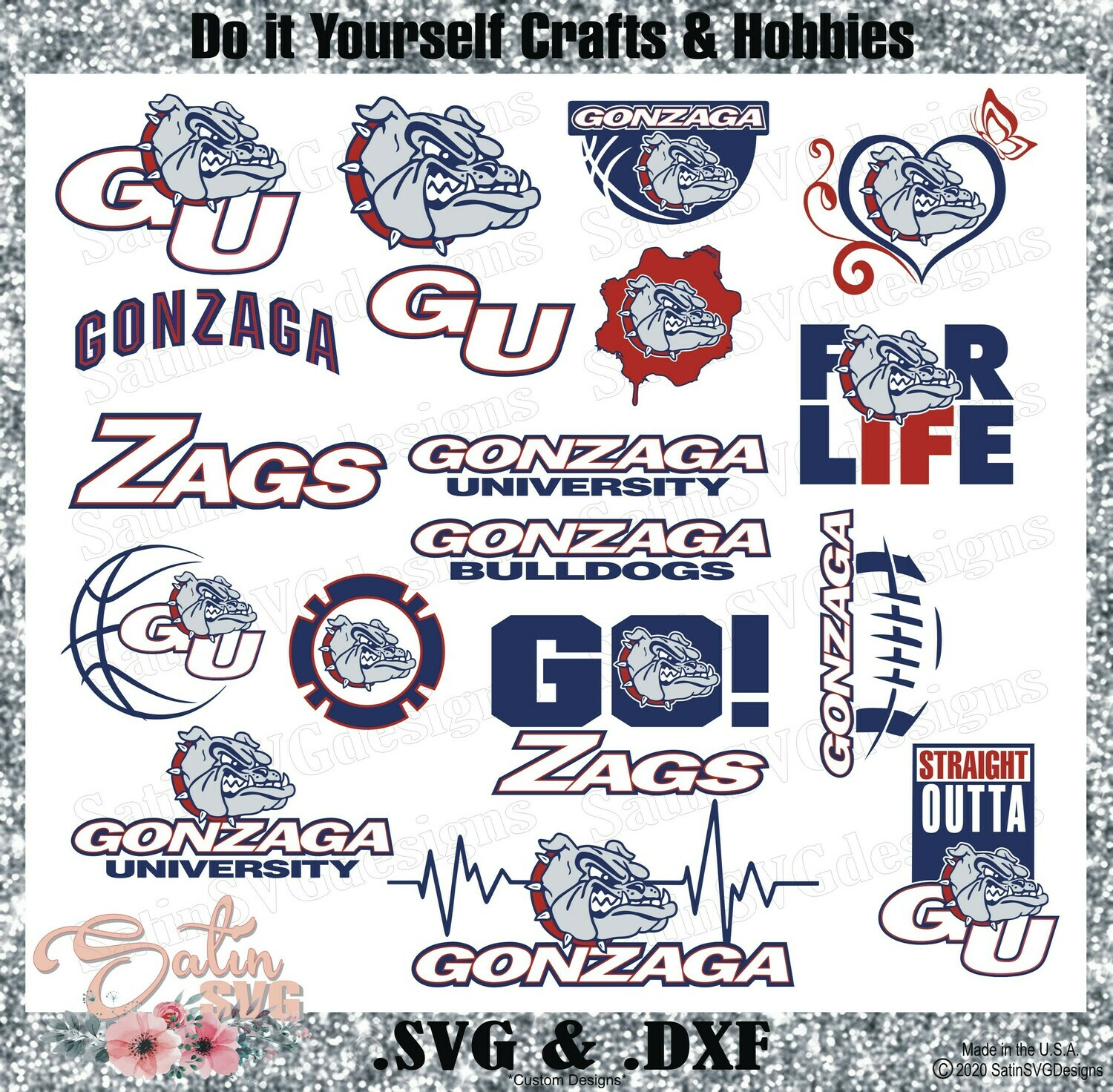 Gonzaga Bulldogs, Gonzaga University NEW Custom Zags Designs. SVG Files, Cricut, Silhouette Studio, Digital Cut Files, Infusible Ink