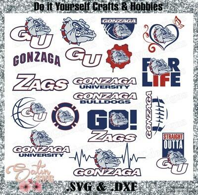 Gonzaga Bulldogs, Gonzaga University NEW Custom Zags Designs. SVG Files, Cricut, Silhouette Studio, Digital Cut Files, Infusible Ink