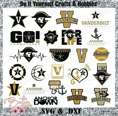 Vanderbilt Commodores, Vanderbilt University NEW Custom Zags Designs. SVG Files, Cricut, Silhouette Studio, Digital Cut Files, Infusible Ink