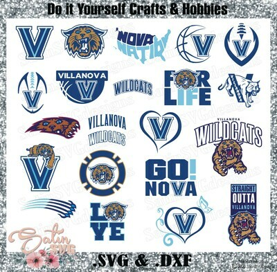 Villanova Wildcats, Villanova University NEW Custom Designs. SVG Files, Cricut, Silhouette Studio, Digital Cut Files, Infusible Ink