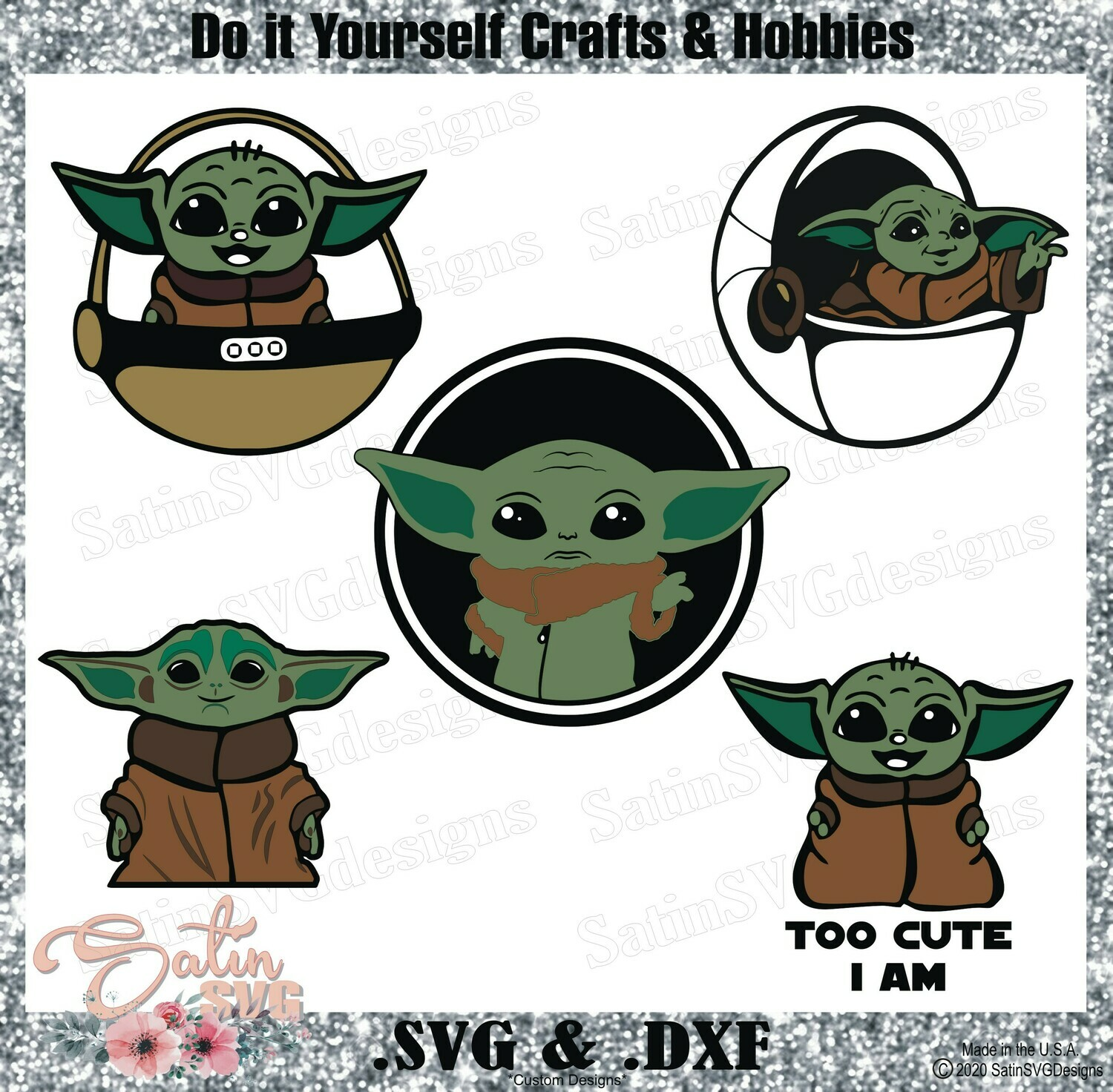 Baby Yoda Design Svg Files Cricut Silhouette Studio Digital Cut Files
