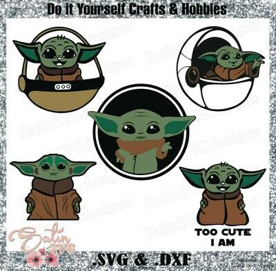 Baby Yoda Design SVG Files, Cricut, Silhouette Studio, Digital Cut Files