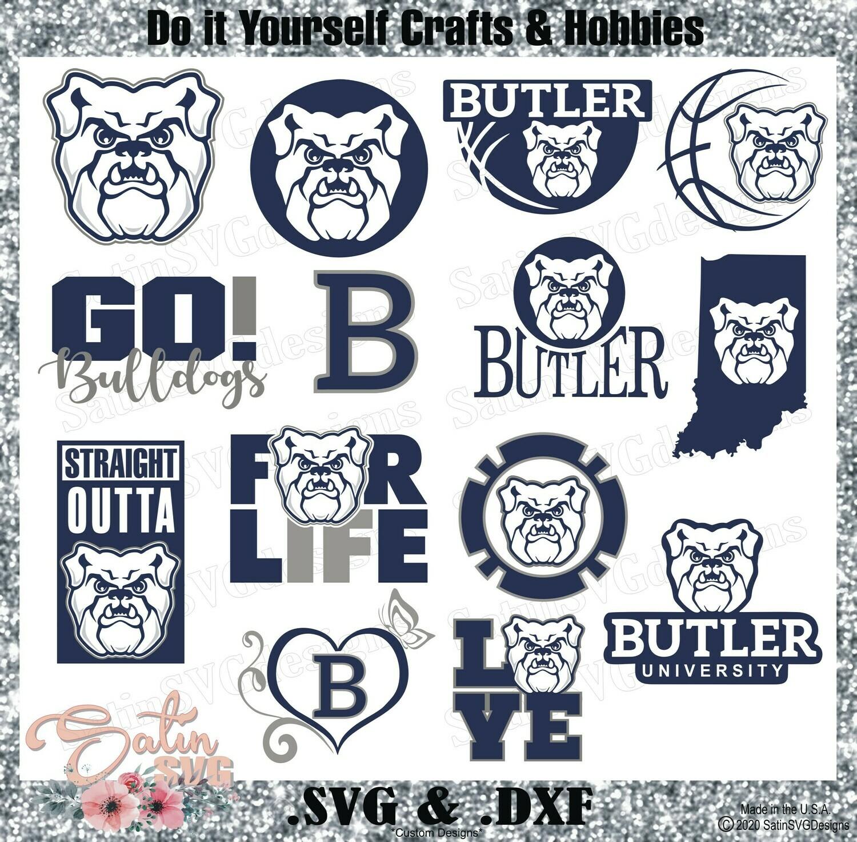 Butler Bulldogs, Butler University NEW Custom Designs. SVG Files, Cricut, Silhouette Studio, Digital Cut Files, Infusible Ink