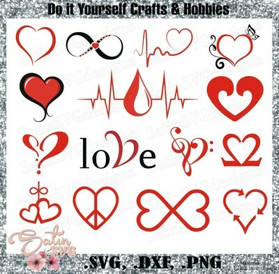 Heart-Love Design SVG Files, Cricut, Silhouette Studio, Digital Cut Files Valentines