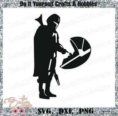 Mandalorian, Baby Yoda WAY, Star Wars Design SVG Files, Cricut, Silhouette Studio, Digital Cut Files Valentines