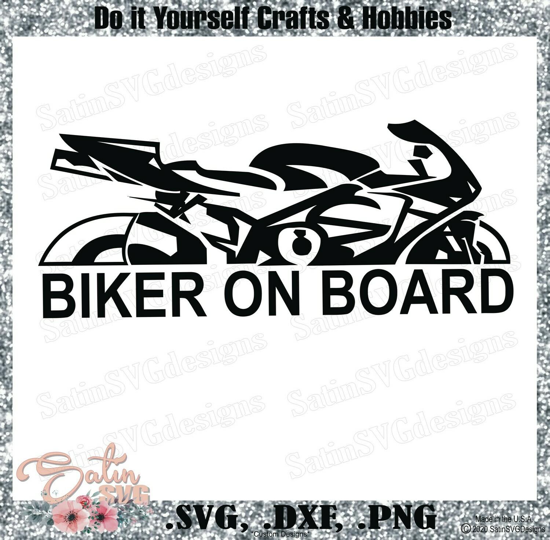 Biker On Board Design SVG Files, Cricut, Silhouette Studio, Digital Cut Files Valentines