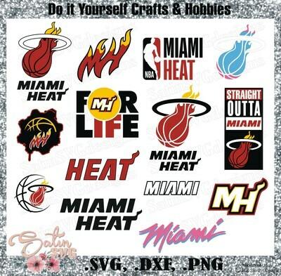 Miami Heat Basketball NEW Custom Designs. SVG Files, Cricut, Silhouette Studio, Digital Cut Files, Infusible Ink