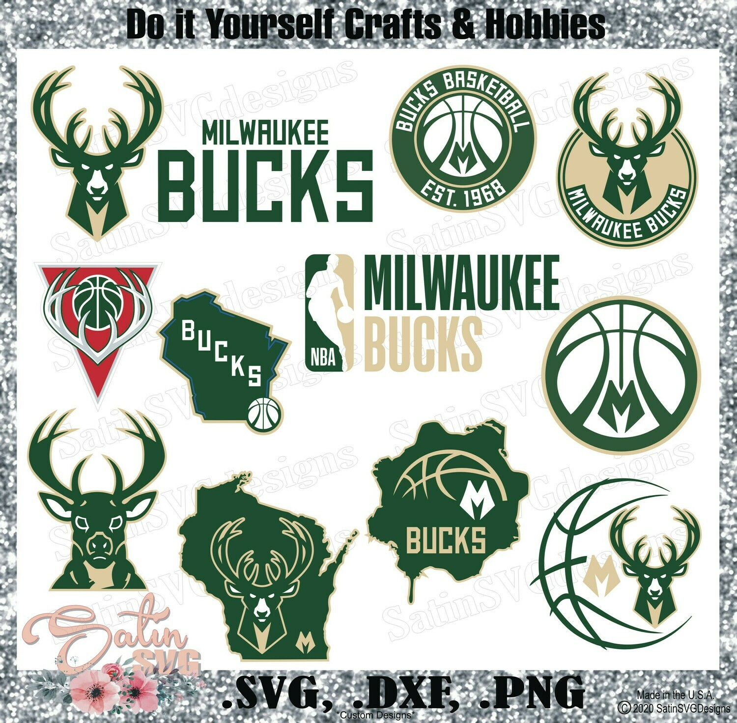 Milwaukee Bucks Basketball NEW Custom Designs. SVG Files, Cricut, Silhouette Studio, Digital Cut Files, Infusible Ink