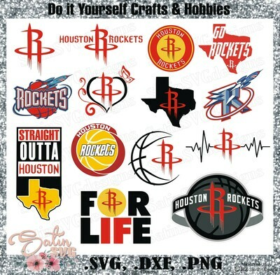 Houston Rockets Basketball NEW Custom Designs. SVG Files, Cricut, Silhouette Studio, Digital Cut Files, Infusible Ink