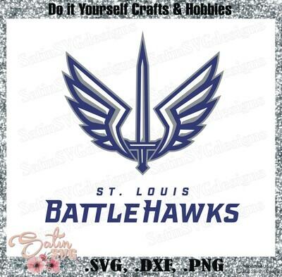 St. Louis Battlehawks XFL Football NEW Custom Logo Designs. SVG Files, Cricut, Silhouette Studio, Digital Cut Files, Infusible Ink