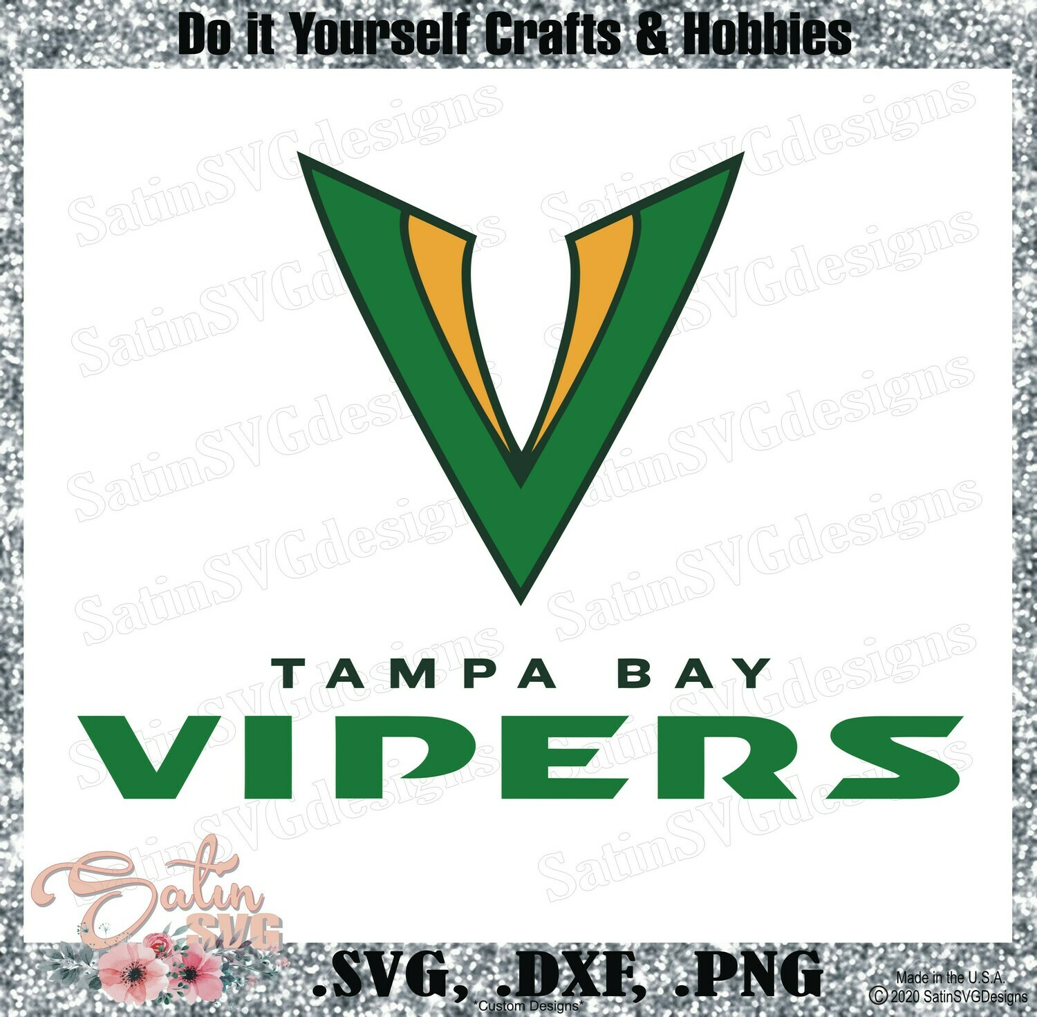 Tampa Bay Vipers XFL Football NEW Custom Logo Designs. SVG Files, Cricut, Silhouette Studio, Digital Cut Files, Infusible Ink