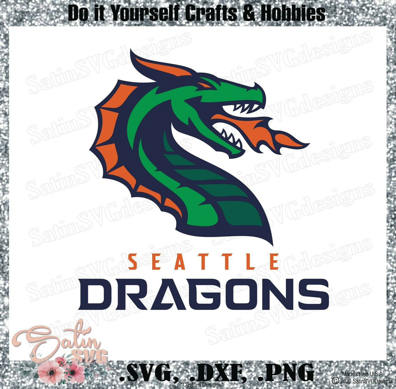 Seattle Dragons XFL Football NEW Custom Logo Designs. SVG Files, Cricut, Silhouette Studio, Digital Cut Files, Infusible Ink