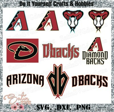 Arizona Diamondbacks Baseball Set Design SVG Files, Cricut, Silhouette Studio, Digital Cut Files