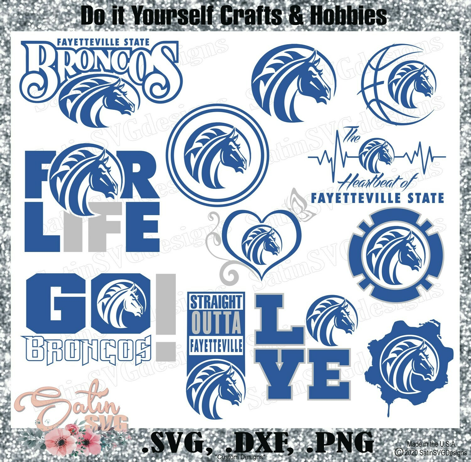 Fayetteville State Broncos University NEW Custom Designs. SVG Files, Cricut, Silhouette Studio, Digital Cut Files, Infusible Ink
