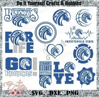 Fayetteville State Broncos University NEW Custom Designs. SVG Files, Cricut, Silhouette Studio, Digital Cut Files, Infusible Ink