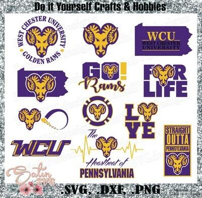 West Chester University Rams NEW Custom Designs. SVG Files, Cricut, Silhouette Studio, Digital Cut Files, Infusible Ink