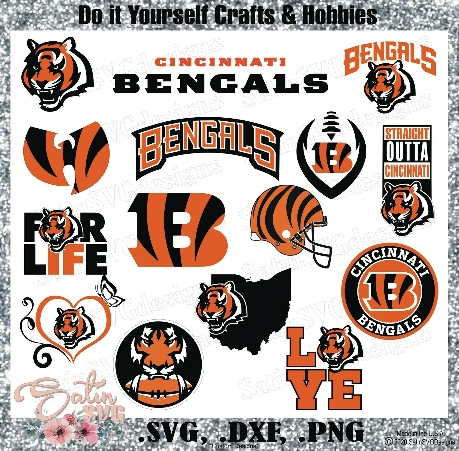 Cincinnati Bengals Set Design NEW SVG Files, Cricut, Silhouette Studio, Digital Cut Files