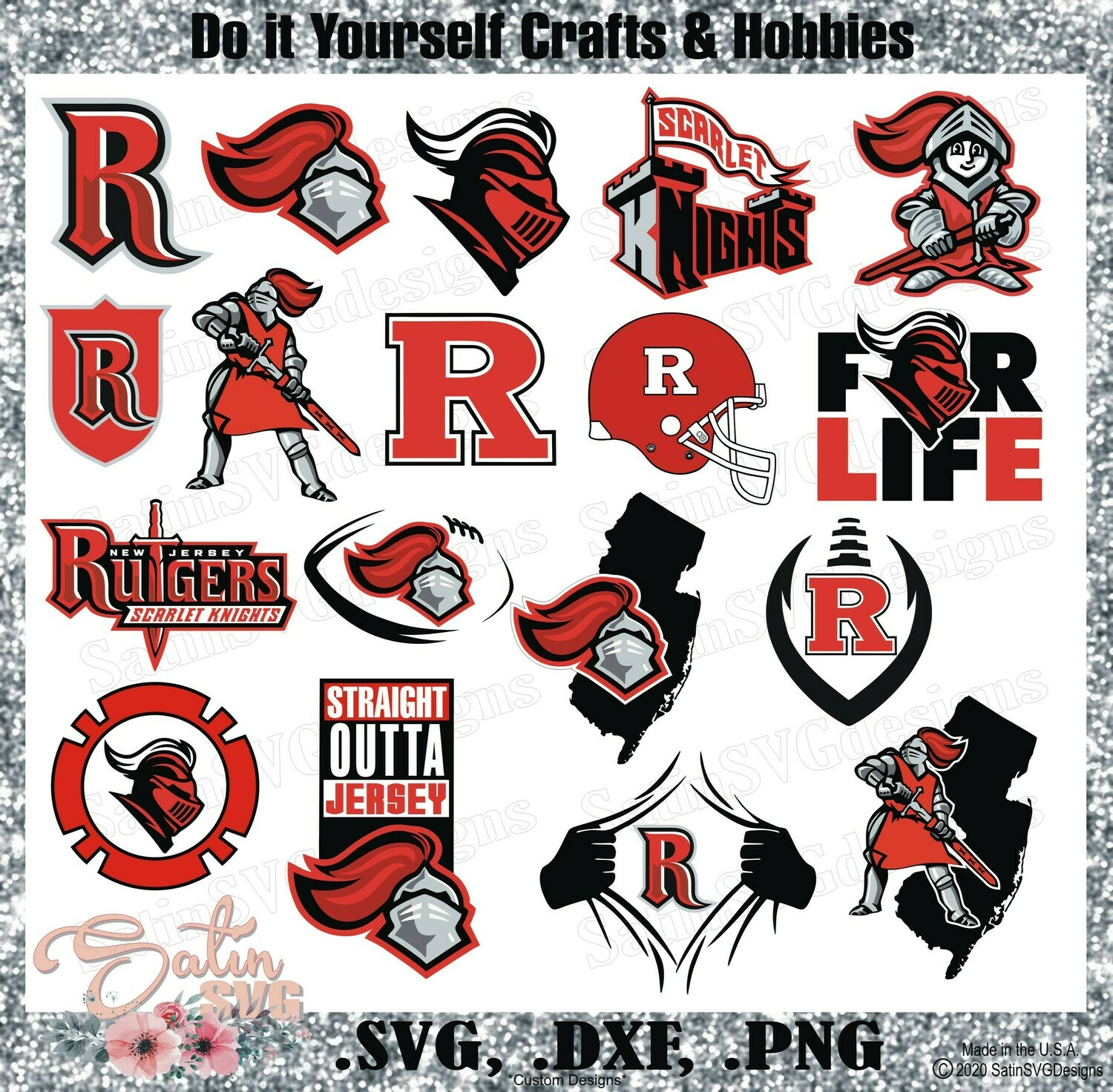 Rutgers Scarlet Knights. Rutgers University NEW Custom Designs. SVG Files, Cricut, Silhouette Studio, Digital Cut Files, Infusible Ink