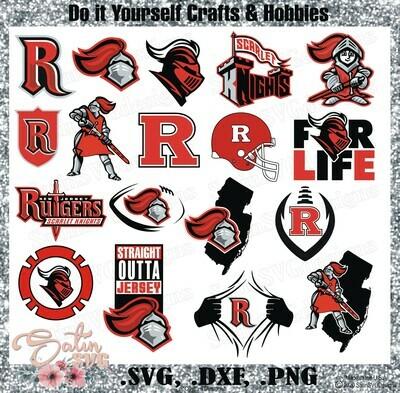 Rutgers Scarlet Knights. Rutgers University NEW Custom Designs. SVG Files, Cricut, Silhouette Studio, Digital Cut Files, Infusible Ink