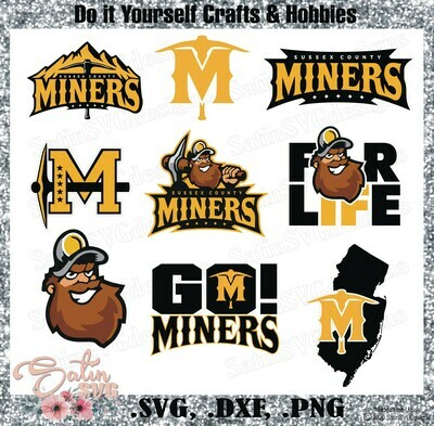 Sussex County Miners Baseball Set Design SVG Files, Cricut, Silhouette Studio, Digital Cut Files, New Jersey