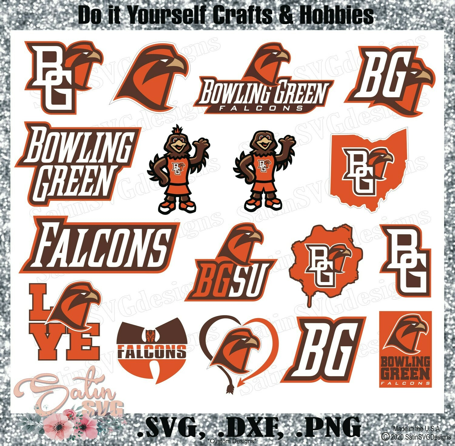 Bowling Green Falcons, Bowling Green University NEW Custom Designs. SVG Files, Cricut, Silhouette Studio, Digital Cut Files, Infusible Ink