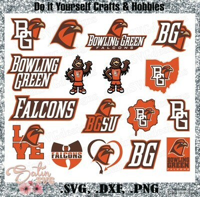 Bowling Green Falcons, Bowling Green University NEW Custom Designs. SVG Files, Cricut, Silhouette Studio, Digital Cut Files, Infusible Ink