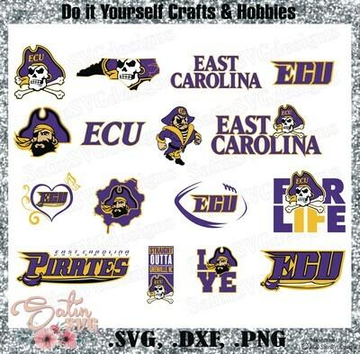 East Carolina Pirates, East Carolina University NEW Custom Designs. SVG Files, Cricut, Silhouette Studio, Digital Cut Files, Infusible Ink
