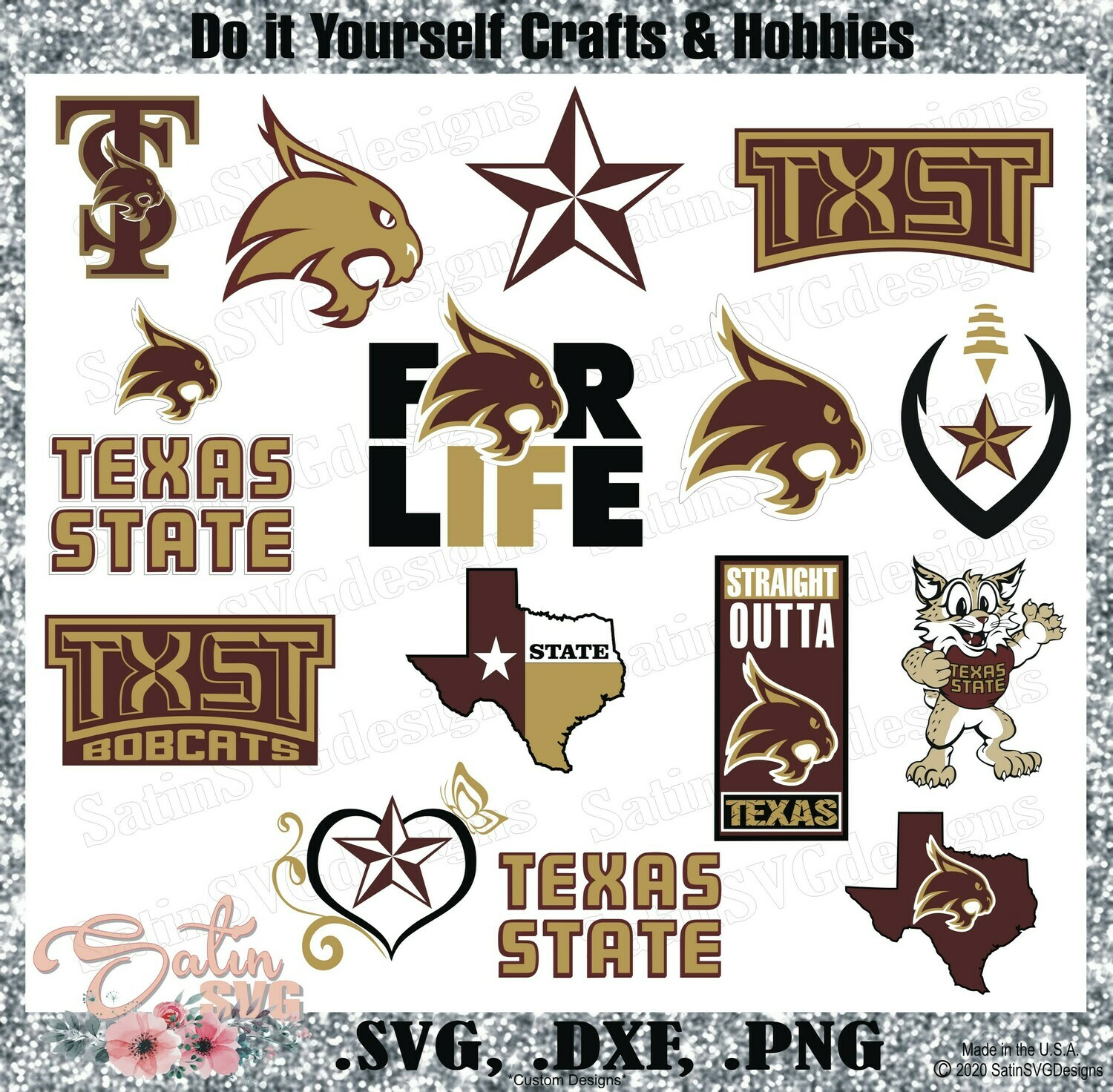 Texas State Bobcats, Texas State University NEW Custom Designs. SVG Files, Cricut, Silhouette Studio, Digital Cut Files, Infusible Ink